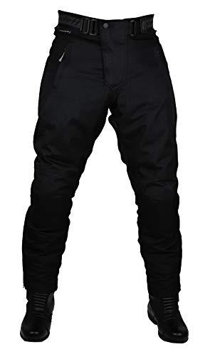 Schwarze Motorradhose mit herausnehmbarem Thermofutter, Protektoren und Weitenverstellung, für Sommer und Winter, Größe XXL