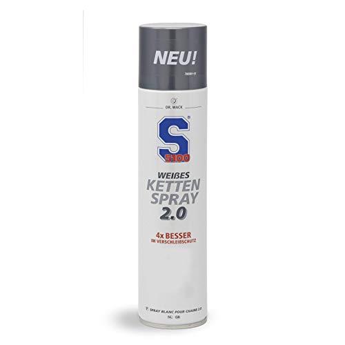 Dr. Wack - S100 Weißes Kettenspray 2.0 400 ml I Premium Motorrad-Kettenöl für noch weniger Reibung & Verschleiß I Kettenspray für alle Motorräder I Hochwertige Motorradpflege – Made in Germany