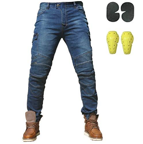 Sportliche Motorrad Hose Mit Protektoren Motorradhose mit Oberschenkeltaschen Blau (L- (Waist 34.5'))