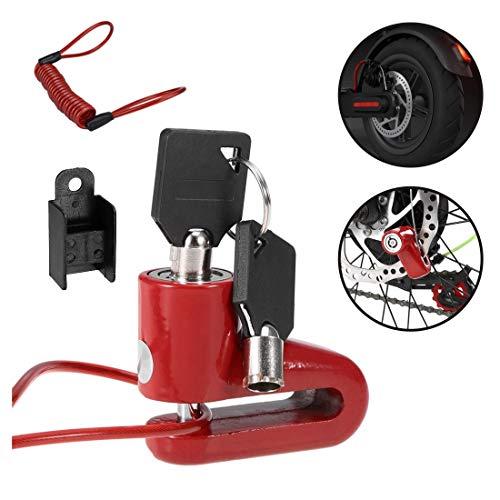 Yungeln Bremsscheibenschloss mit 1.2m Erinnerungskabel für Xiaomi 1S/M365/Pro Scooter, Motorrad Fahrrad, Wasserdicht - Rot