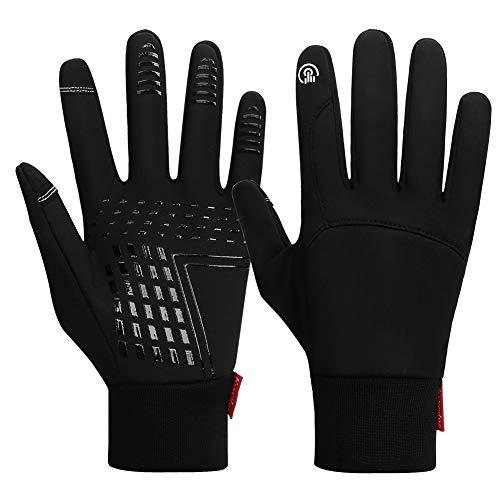 Handschuhe Fahrradhandschuhe Warm Fallen Winter Laufhandschuhe Touchscreen Anti-Rutsch wasserdichte Winddichte Sporthandschuhe für Männer Frauen zum Laufen, Radfahren, Klettern