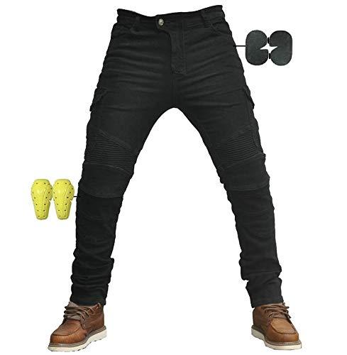 CBBI-WCCI Sportliche Motorrad Hose Mit Protektoren Motorradhose mit Oberschenkeltaschen (schwarz, M=33' (85cm Waist))