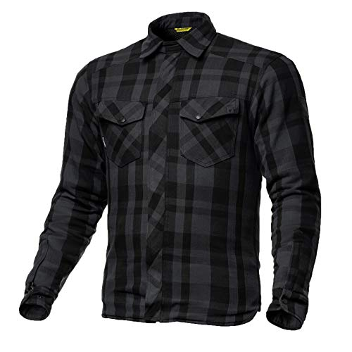 SHIMA RENEGADE BLACK, Motorrad Lumberjack Jacken-Hemd Vintage-Flanell Hemd mit Protektoren, (Schwarz, XL)
