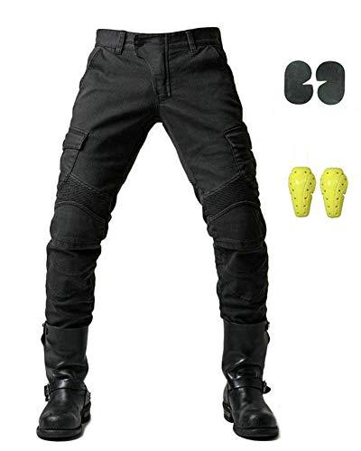 GELing Sportliche Motorrad Hose Mit Protektoren Motorradhose mit Oberschenkeltaschen ,Schwarz,XL