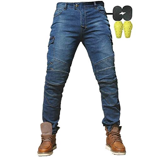 CBBI-WCCI Sportliche Motorrad Hose Mit Protektoren Motorradhose mit Oberschenkeltaschen (Blau, L=34.5' (90cm Waist))