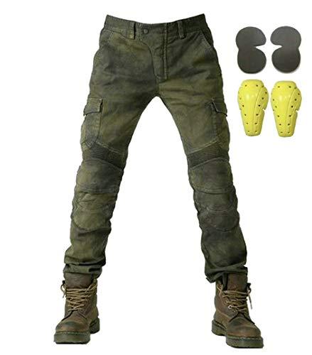 Sportliche Motorrad Hose Mit Protektoren Motorradhose mit Oberschenkeltaschen Armee grün(M- (Waist 33'))