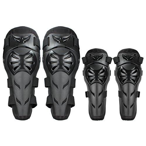 GES 4 Motorrad Knie-, Ellenbogen Protektor Motocross Racing Knee Guard Schienbeinschoner schutzausrüstungen für Erwachsene (Schwarz)