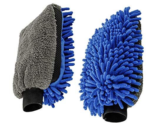 Moto&Bike Auto-Waschhandschuh für die schonende Lackreinigung von KFZ, Motorrad, Fahrrad -Mikrofaser Autopflege und Felgenpflege - doppelseitig, blau