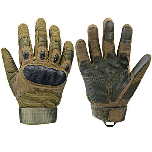 Xnuoyo Gloves Gummi Hart Vollfinger und Halbe Fingerhandschuhe Schutzhandschuhe Touchscreen Handschuhe für Motorrad Radfahren Jagd Klettern Camping (L, Armeegrün)