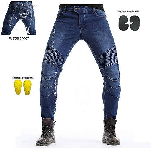 WCCI Wasserdicht Motorradjeans Sportliche Motorrad Hose Mit Protektoren Motorradhose (Blau, L=34.5' (90cm waist))